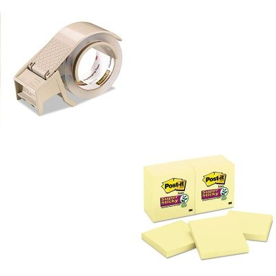 Notes Compact Dispenser - KITMMM65412SSCYMMMH122 - Value Kit - Scotch Compact and Quick Loading Dispenser for Box Sealing Tape (MMMH122) and Post-it Super Sticky Notes (MMM65412SSCY)