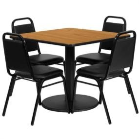 10XX 36 inch Square Lunch Room Table with 4 Chairs (36 Inch Lunchroom Table)