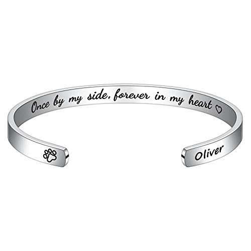 M MOOHAM Gifts for Someone Who Lost a Pet - Engraved Dogs Pets Name Pet Sympathy Gifts for Dogs Memorial Jewelry Sympathy Gift for Loss of Pet Name Bangle Bracelet for Dog Lover