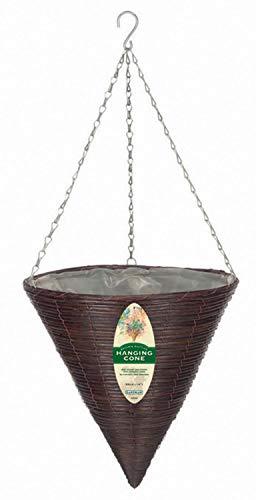 Rattan Hanging Basket - Gardman R337 Brown Rattan Hanging Cone Basket, 14