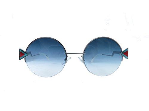 Fendi round sunglasses 0SCB Silver Blue Frame And khaki Aqua Lens