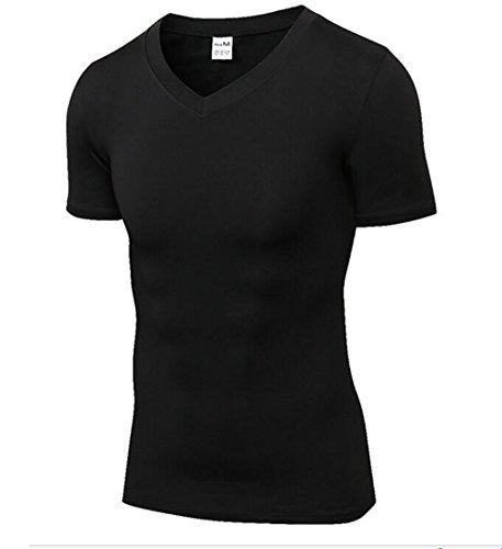 Findci Mens Compression V Neckline Tops Workout Tight Training T Shirt Fitness Sweat Shirt
