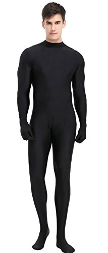 speerise Unisex Turtleneck Full Body Unitard Spandex Lycra Bodysuits Zentai Suits Costumes Black