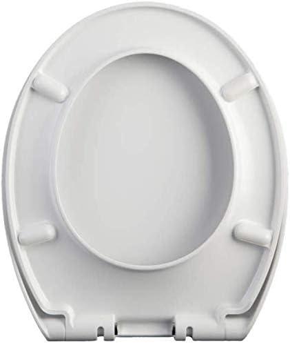 YLSP 家庭用型Oユニバーサルトイレの蓋のトイレのふたのトップをインストールするのは簡単抗菌尿素ホルムアルデヒドサイレントインストールを滴下ホームWCシートを厚くし (Color : White, Size : 41~46*35.5cm)