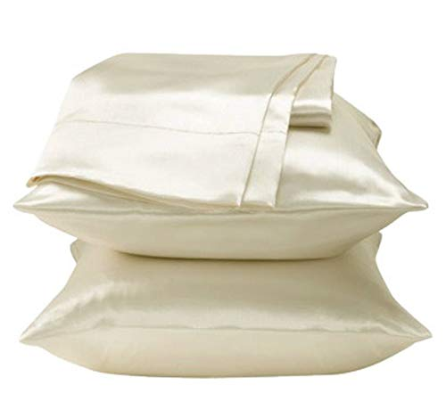 - 2 Pieces of Soft Charmeuse Satin Pillowcases Queen Size/Ivory
