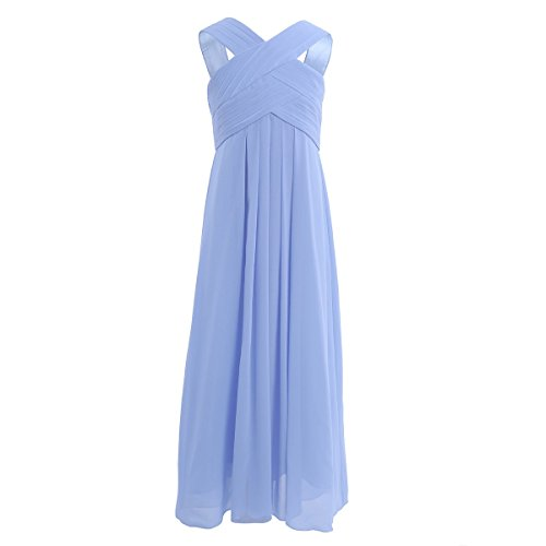 iiniim Girl's Cut Out Chiffon Pageant Party Wedding Flower Girl Dress Junior Bridesmaid Long Gowns Cornflower Blue 12