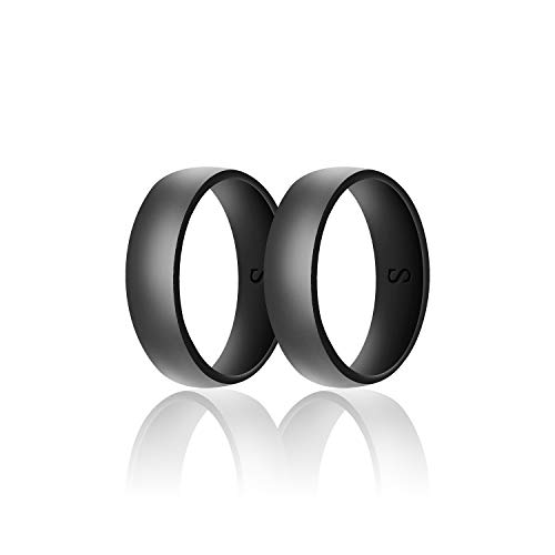 SANXIULY Mens Silicone Wedding Ring&Durable Rubber Wedding Bands Safe and Weight Lifting for Workout and Active Athletes Width 8mm Pack of 2 Color Black Size 8