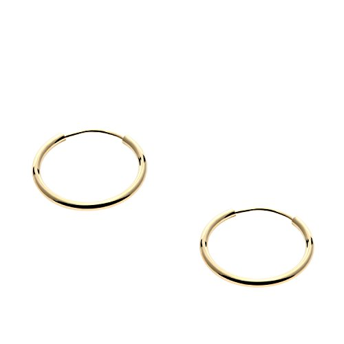14k Yellow Gold Endless Hoop Earrings 12mm