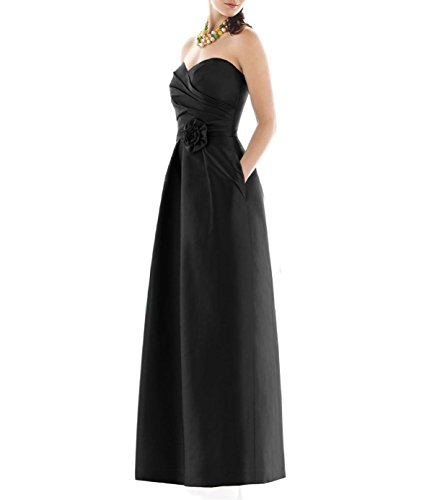 Black Satin Strapless Dress - 6