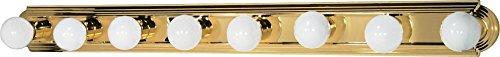 Nuvo Lighting 60/311 Eight Light Racetrack Vanity, Polished Brass/Alabaster Glass