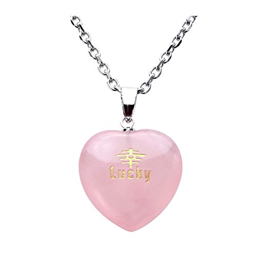 Top Plaza Natural Rose Quartz Healing Crystal Heart Gemstone Necklace,Golden Chinese Word Engraved Pendant for Women Girls(Lucky-Chinese)