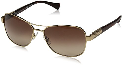 Ralph by Ralph Lauren Women's 0ra4119 Rectangular Sunglasses, GOLD/STRIATED BROWN POLARIZED, 57 mm ()