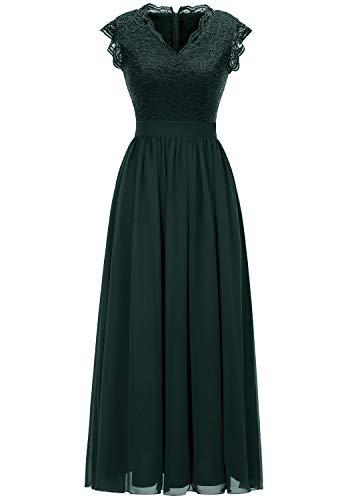 (Dressystar 0050 V Neck Sleeveless Lace Bridesmaid Dress Wedding Party Gown XL Green)