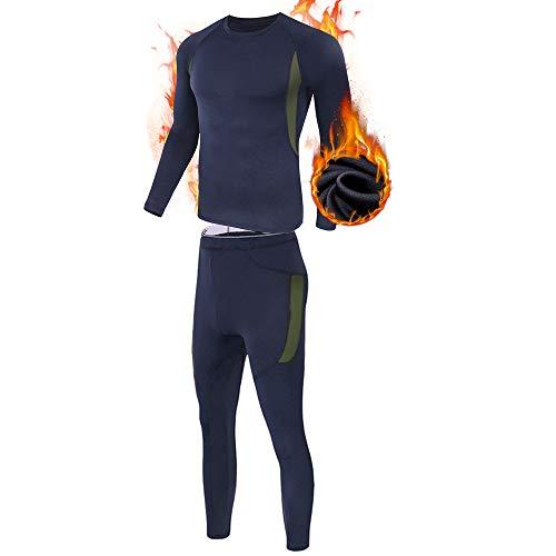 ESDY Ensemble de sous-Vêtements Thermiques Homme, Sport Base Layer Maillot Manches Longues + Pantalon Quick Dry Sou Vetement pour L'entraînement Ski Running Randonnée