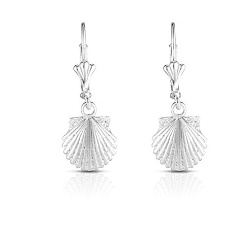 (Unique Royal Jewelry 925 Solid Sterling Sea Shell French-Wire-Clip Drop Dangling Designer Earrings. (Rhodium-Plated Sterling Silver))