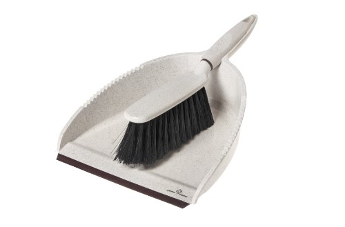 Greener Cleaner Dustpan & Brush Cream (Black Plastic Janitor Broom)