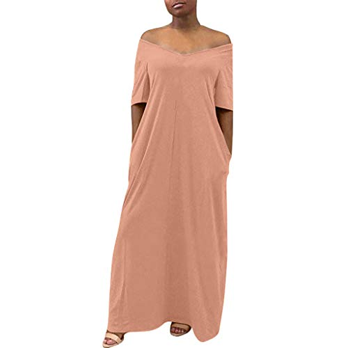 TANGSen Women Solid Color Casual Loose Dress Ladies Short Sleeve Casual Dress Summer Fashion Pocket Maxi Dress Pink