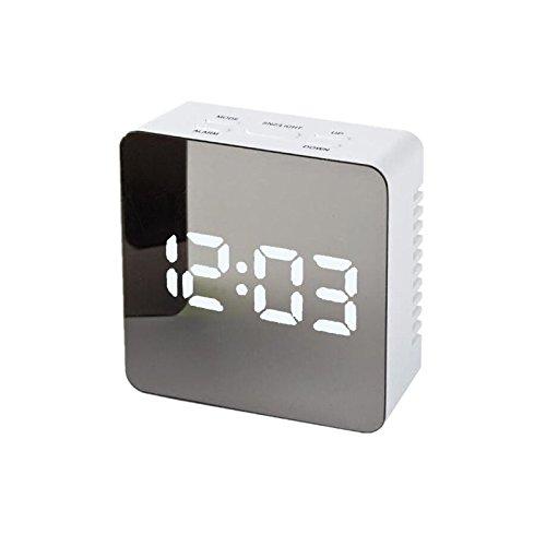 OurLeeme Alarma único del LED Reloj Digital Noche luz del Espejo de la lámpara de visualización