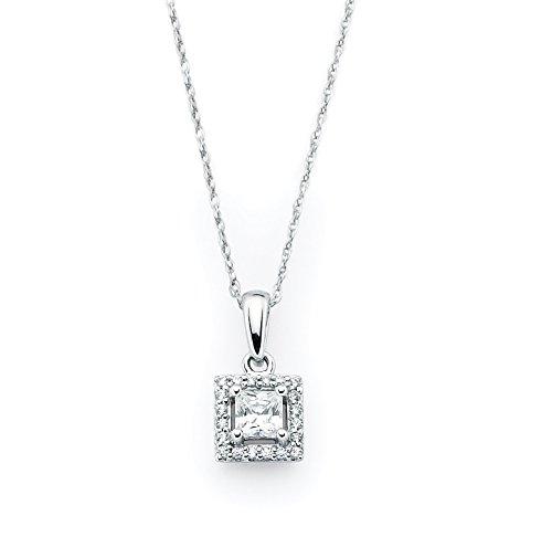 Gold Diamond Square Pendant - 14K White Gold Princess Cut Diamond Halo Square Pendant Necklace, 18