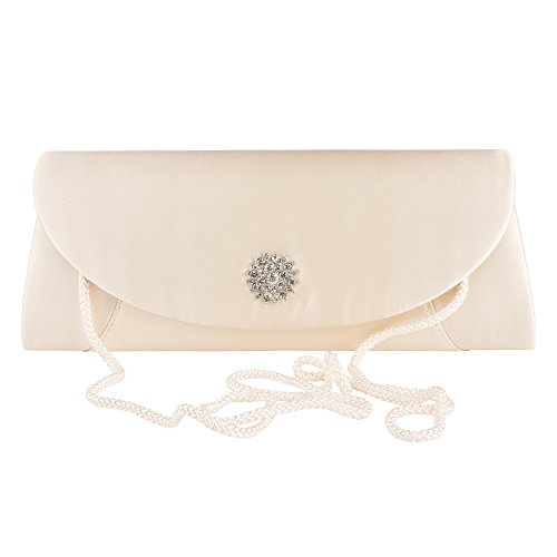 La Regale Matte Satin Clutch with Brooch – Formal Evening Handbag & Purse La Regale Satin Flap Clutch