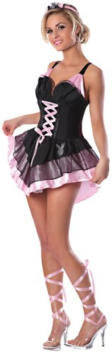Halloween Costumes By Playboy (Playboy Ballerina Bunny Costume, Black/Pink, Medium)