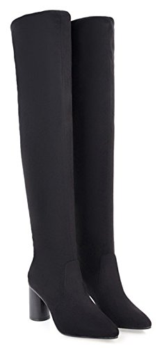 Aisun Womens Simple Dressy Slim Stretchy Pull On High Chunky Heels Pointed Toe Over The Knee Boots Black yOy6eDrs