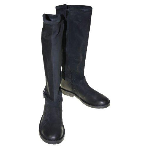 cashott - Botas de cuero para mujer negro black nobuck 375