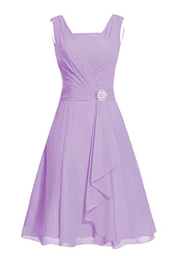 DRESSTELLS Short Bridesmaid Dress Square Chiffon Mother of The Bride Party Dress Lavender Size 2