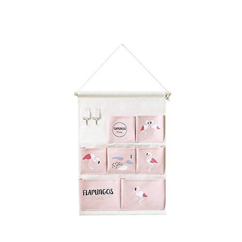 Price comparison product image angel3292 Flamingo Foldable Wall Hanging Storage Pouch Bag Hook Home Sundries Organizer Pink