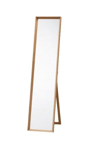 天然木 深絞り フレーム 姿見 ドレッサー ミラー おしゃれ 全身 スタンドミラー 鏡 はば34cm x 高さ150cm ナチュラル NATURAL 飛散防止 木 木目 カフェ アンティーク 北欧 B0131ZV45Kナチュラル