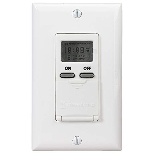 Intermatic EI500WC Electronic In-Wall Switch Timer, 10000 Cycle, 24 Hr, Plastic, Light, Almond