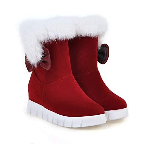 Cachemira 38 Bowknot Zapatos Gamuza Tamaño Invierno Gran Más Grueso Mujer Botas Slip Fondo señoras ons Botines 2018 color De Esquí Nieve Rojo q8wFFU1