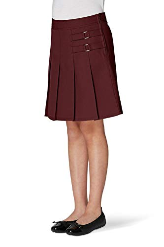 French Toast Big Girls' Two-Tab Pleated Scooter, Burgundy, 8
