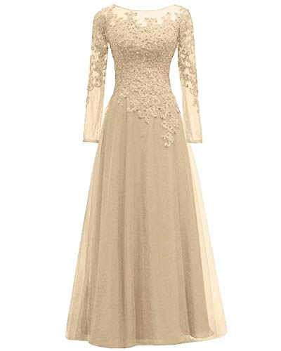 Women's Lace Appliques Mother of The Bride Dress Tulle Long Sleeves Evening Prom Gown Beaded Bridesmaid DressChampagne Gold US12