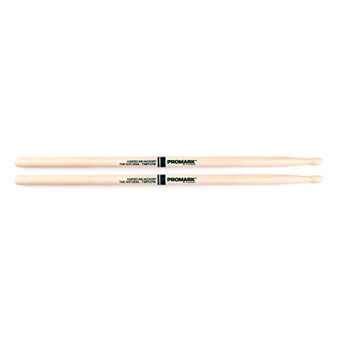 Promark TXR747W American Hickory Natural Wood Tip, Single Pair, - Promark American Rock Hickory