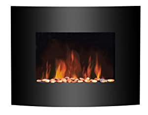 FoxHunter Wall Mounted Electric Fire Fireplace Plasma With Black Curved  Glass Screen Heater Flame Effect 1.8kW MAX Remote Control New
