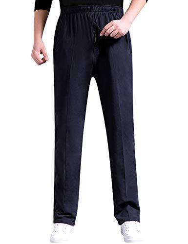 Zoulee Men's Casual Cotton Jogger Sweatpants Zipper Front Pants Black L