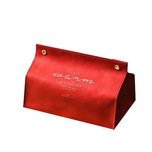 IslandseNew Leather Facial Tissue Box Cover Rectangular Napkin Holder Snap Closure (Red) ()