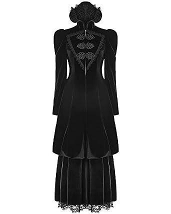 Rave Velours Gothique Femme Long Punk Manteau Noir Victorien RzdqRn