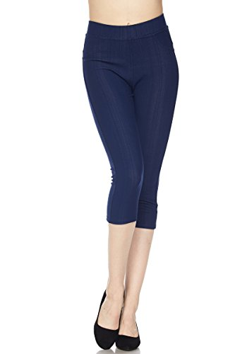 PALI USA Premium Quality Jeggings Regular and Plus Super Stretch Jean Capri Leggings w/Pockets (Denim, Plus Size(1XL/2XL)) (Pocket Denim Capri)