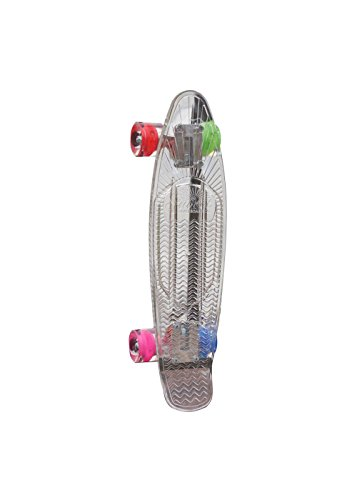Crystal Complete Deck Set (Sunset Skateboards Hippy Complete Skateboard Deck with Blue/Green/Red/Pink Wheels, 22-Inch, Clear)