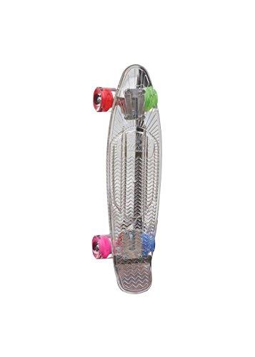 Sunset Skateboards Hippy Complete Skateboard Deck with Blue/Green/Red/Pink Wheels, 22-Inch, Clear (Sunset Skateboard Decks)