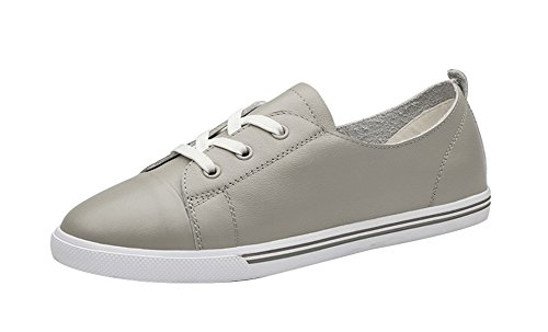 Freerun Women's Casual Lace-up Flat Leather Comfort Fashion Sneakers (7 B(M)US,gray)