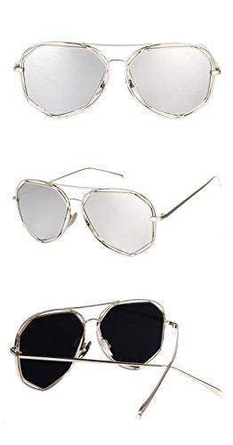 de marca de la gafas borde lente gafas del hombres plateado Lente de borde negros lente negro la sol blanca de color Los diseñador sol negra DESESHENME espejo protege cqv8II