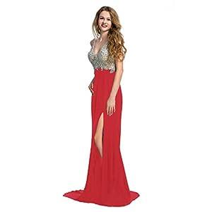 Manfei Women's 2019 V-Neck Crystal Beaded Mermaid Long Prom Dress Slit Side (10, Red)