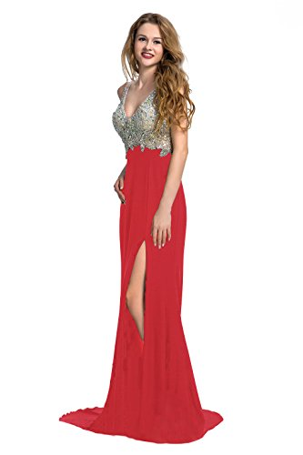 Manfei Women's 2019 V-Neck Crystal Beaded Mermaid Long Prom Dress Slit Side (16, Red)