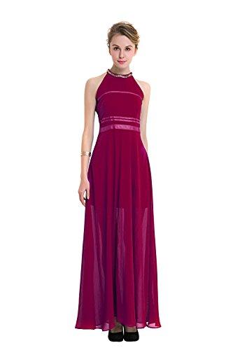 Mena UK Elegant Chiffon Damen Kleider Lange Brautjungfer Slim ...