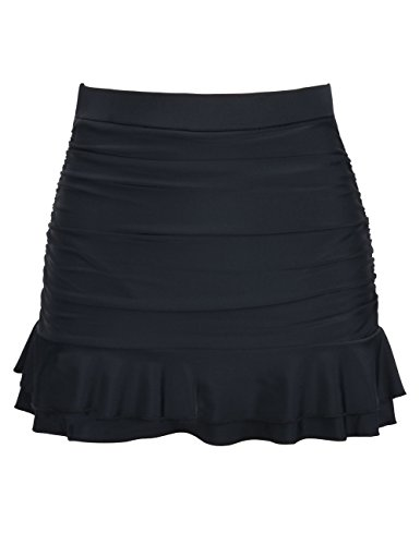 Hilor Women's Skirted Bikini Bottom High Waisted Shirred Swim Bottom Ruffle Swim Skirt Black 14(Fits 10)