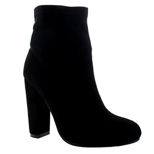 Mujer Talón De Bloque Calcetín Ajuste Moda Tramo De Moda Chelsea Botines Ante Negro