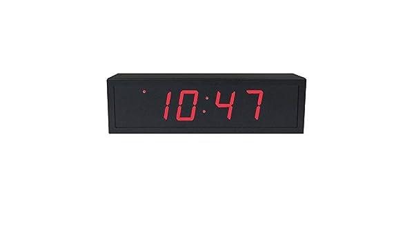 Reloj digital de precisión alimentado vía Ethernet (PoE) de 5,7 cm de altura, 4 dígitos rojos, carcasa de acero negra: Amazon.es: Electrónica